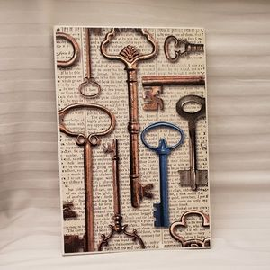 Old Fashioned Keys on Newspaper Graphic  Wall Art